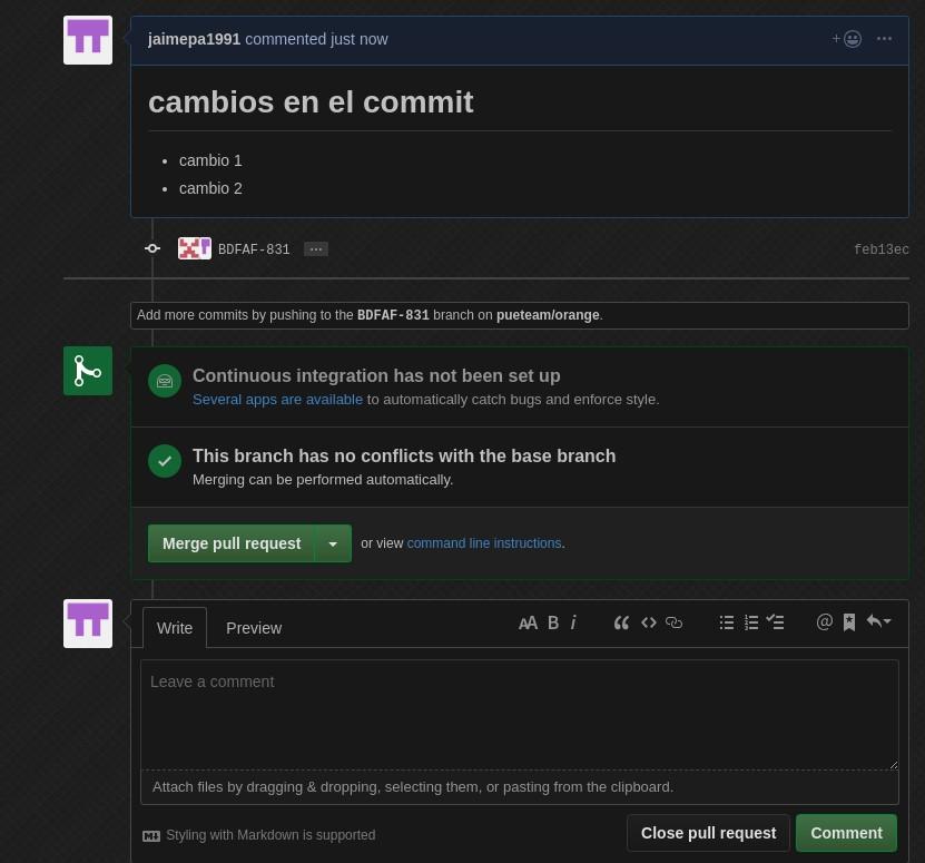 Git create pull request